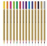 Creioane colorate 12 culori intense + auriu si argintiu S-Cool