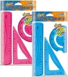 Trusa geometrie flexibila 3 piese/set, diverse culori, S-Cool