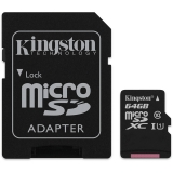 Card de memorie MicroSDXC, 64 GB, Class 10 + Adaptor Kingston