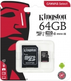 Card de memorie MicroSDXC, 64 GB, Canvas Select, Class 10 + Adaptor Kingston