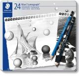 Creioane grafit Mars Lumograph + Lumograph Black 100-G24-S, 9B-9H, 24/set Staedler