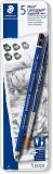 Creioane grafit + pensula Mars Lumograph Aquarell 100A-G6, 8B-4B, 5+1/set Staedler