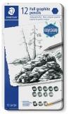 Creioane grafit + pensula Mars Lumograph Full Graphite 100G-M12, 8B-HB, 12/set Staedler