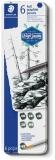 Creioane grafit + pensula Mars Lumograph Full Graphite 100G-M6, 8B-HB, 6/set Staedler