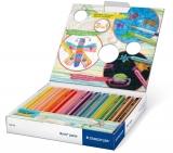 Creioane colorate 3 in 1 + ascutitoare Noris Junior, 12 culori/set Staedtler