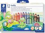 Creioane colorate 3 in 1 + ascutitoare Noris Buddy, 12 culori/set Staedtler
