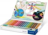 Creioane colorate 3 in 1 + ascutitoare si pensula, Noris Junior, 18 culori/set Staedtler