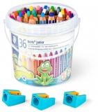 Creioane colorate 3 in 1 + 3 ascutitori Noris Junior, 2x18 culori/set Staedtler