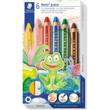 Creioane colorate 3 in 1 + ascutitoare Noris Junior, 6 culori/set Staedtler