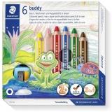 Creioane colorate 3 in 1 + ascutitoare Noris Buddy, 6 culori/set Staedtler