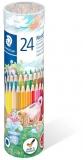 Creioane colorate Noris 144, cutie metal, 24 culori/set Staedtler