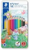 Creioane colorate Noris 145, cutie metal, 12 culori/set Staedtler