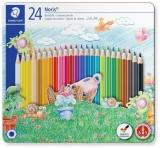 Creioane colorate Noris 145, cutie metal, 24 culori/set Staedtler