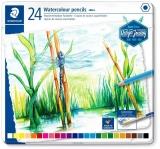 Creioane colorate acuarela Design Journey, cutie metal, 24/set Staedtler