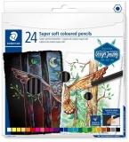 Creioane colorate Design Journey Super Soft, 24 culori/set Staedtler
