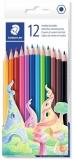 Creioane colorate hexagonale, fara lemn, 12 culori/set Staedtler