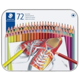 Creioane colorate hexagonale, cutie metal, 72 culori/set Staedtler