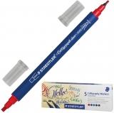 Marker caligrafic Calligraph duo, 2 capete, 5 culori/set Staedtler
