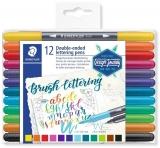 Carioci Brush Letter Duo, 2 capete, 12 culori/set Staedtler