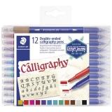 Marker caligrafic Design Journey Calligraphy, 2 capete, 12 culori/set Staedtler