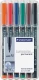 Marker permanent 1mm set 6 culori Lumocolor Staedtler