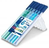 Carioci triunghiulare varf fibra Triplus Color Ocean, stand-up, 6 culori/set Staedtler