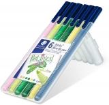 Carioci triunghiulare varf fibra Triplus Color Botanical, stand-up, 6 culori/set Staedtler