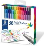 Fineliner Triplus 334, 36 culori/set Staedtler
