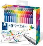 Fineliner Triplus 334, 60 culori/set Staedtler