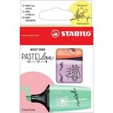 Textmarker Boss Mini Pastel Love set 3 culori verde, mov, portocaliu Stabilo