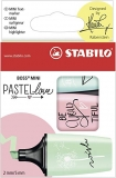 Textmarker Boss Mini Pastel Love set 3 culori: verde, roz, bleu Stabilo