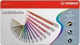 Creioane colorate CarbOthello cutie metal 12 culori/set Stabilo