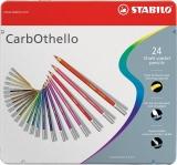 Creioane colorate CarbOthello cutie metal 24 culori/set Stabilo