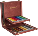 Creioane colorate CarbOthello caseta de lemn 60 culori/set Stabilo