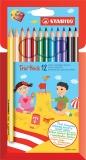 Creioane colorate Trio Thick 12 bucati/set Stabilo