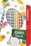 Creioane colorate EasyColors, pentru stangaci, 12 culori/set Stabilo