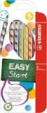 Creioane colorate EasyColors, pentru stangaci, 6 culori/set Stabilo