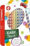 Creioane colorate EasyColors, pentru dreptaci, 12 culori/set Stabilo