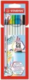 Carioca Pen 68 Brush 8 culori/set Stabilo