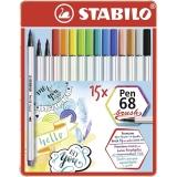 Carioca pen 68 Brush 15 culori/set Stabilo