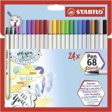 Carioca pen 68 Brush 24 culori/set Stabilo