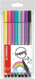 Carioca Pen 68, 1 mm, editie speciala Happy 8 culori/set Stabilo