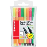Fineliner Neon 4 x mini Point 88, 4 x Pen 68, 8 culori/set Stabilo