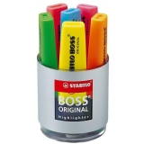 Textmarker Boss Original, display tubular, 6 culori/set Stabilo