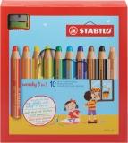 Creioane colorate 3 in 1 Woody 10 culori/set + ascutitoare Stabilo