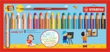 Creioane colorate  3 in 1 Woody 18 culori/set + ascutitoare si pensula Stabilo