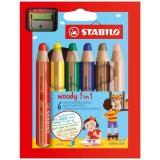 Creioane colorate Woody 3 in 1 + ascutitoare, 6 culori/set Stabilo