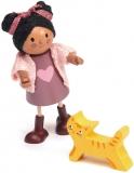 Figurina Ayana si pisicuta, din lemn premium, Tender Leaf Toys