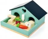 Set figurina iepuras in casuta, din lemn premium, Tender Leaf Toys