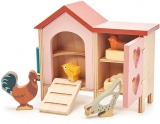 Set figurina gaini in cotet, din lemn premium, Tender Leaf Toys